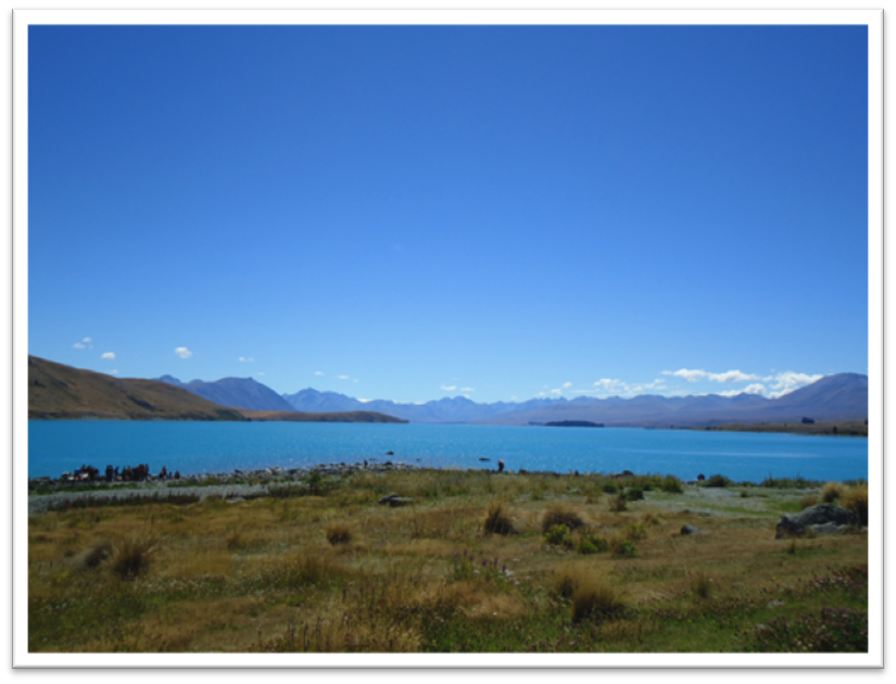 Figure 1. Lake Tekapo with the Southern Alps in the background in central South Island, New Zealand. Cosmogenic chronologies from moraines around glacial lakes like this are giving valuable information about the glacial activity during the transition out of the last Ice Age.