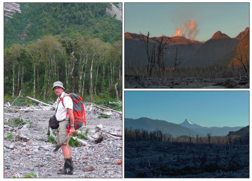 "Photo 2 ""Tramping around tons of white ashes from the 2008 eruption evoked a special feel of devastation and remind us that nature is both powerful and deadly"". Prof. Brent Alloway, the steaming Volcán Chaitén and the devastated Chaitén valley with Volcán Corcovado on the background."